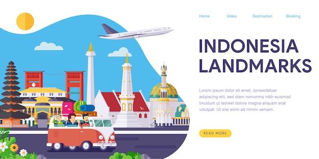 Целевая страница с достопримечательностями индонезии