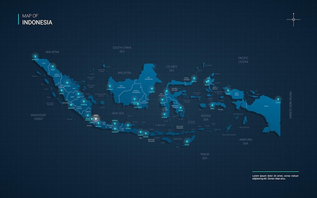 Indonesia map illustration with blue neon light points