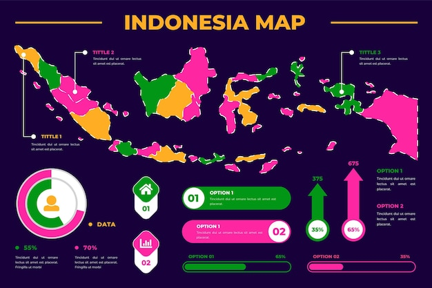 Indonesia map infographic template