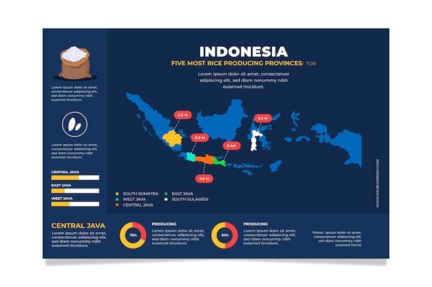 インドネシア地図インフォグラフィックフラットデザイン
