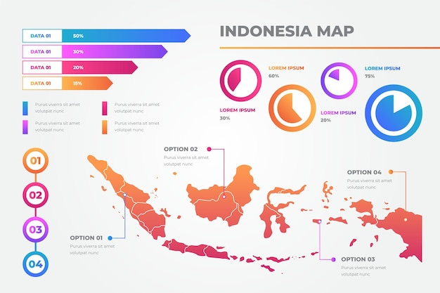 Indonesia map infographics template