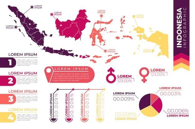 インドネシアの地図のインフォグラフィック