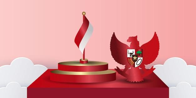 表彰台のイラストとインドネシア国立パンカシラデーバナー