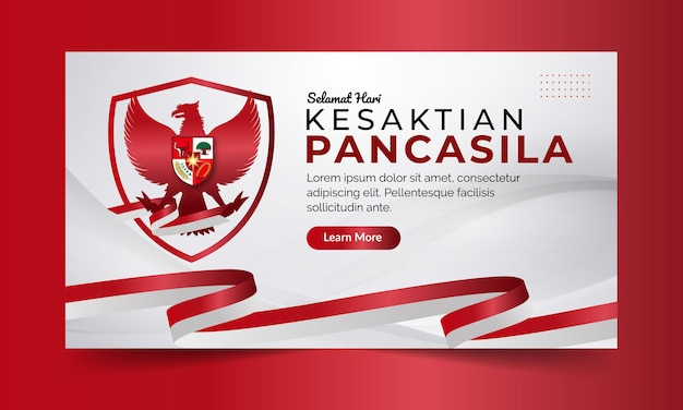 赤と白の背景を持つインドネシア国立パンカシラデーバナー