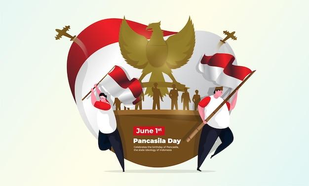 英雄的なキャラクターのイラストが描かれたインドネシア国立パンチャシラデー