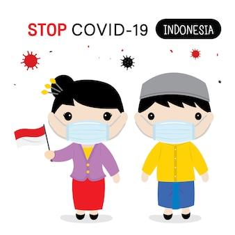 인도네시아 사람들은 covid-19를 보호하고 중단하기 위해 국가 복장과 마스크를 착용해야합니다. 인포 그래픽 코로나 바이러스 만화.