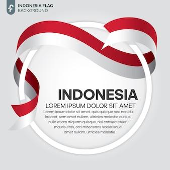 흰색 바탕에 인도네시아 리본 플래그 벡터 일러스트 레이 션