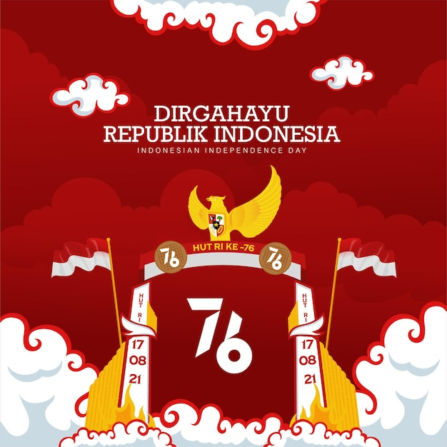 Indonesia's 76th independence day celebration background