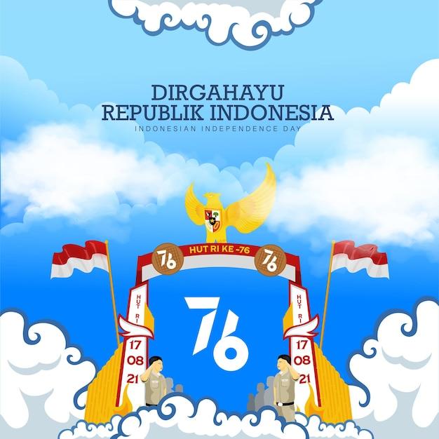 インドネシアの76回目の独立記念日のお祝い背景