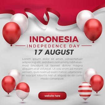 赤白い風船とリボンの旗が付いているインドネシアの独立記念日のgreetigカードソーシャルメディアテンプレートチラシ