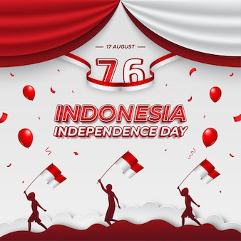 Indonesia's independence day square background template