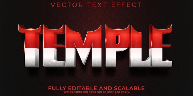 Indonesia temple text effect, editable travel and ancient text style
