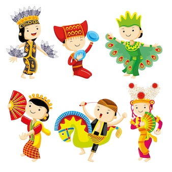Indonesia traditional dance with cute characters