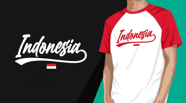 Indonesia typography t-shirt design