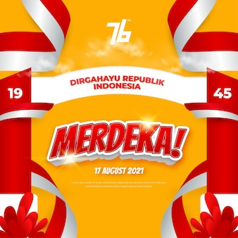 インドネシアの第76回独立記念日のお祝いの背景はdirgahayurepublikインドネシアの手段