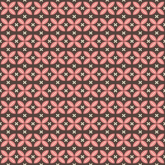 Indonesian batik seamless pattern with various motif javanese traditional culture, batik kawung in brown pink colorway, can applied to whole cloth