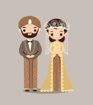 Indonesian bride and groom couple for wedding invitation