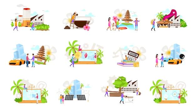 Набор индонезийских бизнес плоских иллюстраций. кофе, табачная продукция. лесная промышленность. прокат автомобилей, лизинг. туризм. альтернативная энергетика. налоговый консультант. изолированные мультфильм концепция