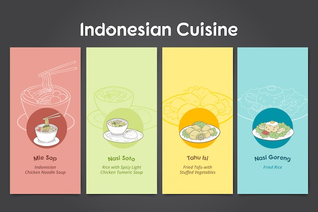 Indonesian cuisine hand drawn