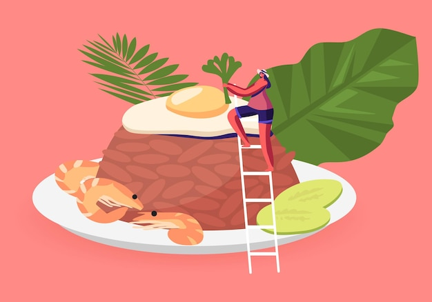 Indonesian cuisine. tiny woman near traditional malaysian meal nasi goreng fried rice with shrimps and egg garnished. cartoon illustration