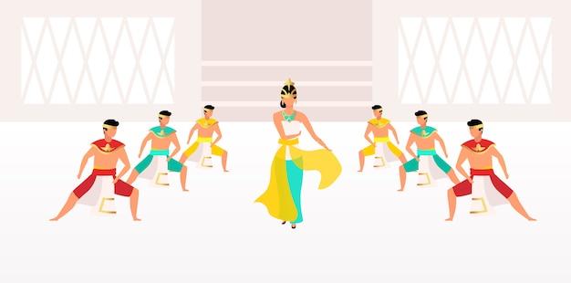 인도네시아 춤 그림. 전통 축하. 아시아 축하. 전통적인 의류 만화 캐릭터를 입은 남자와 여자