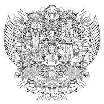 装飾品とガルーダのインドネシアの女性