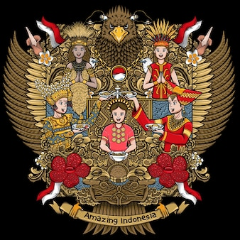 Indonesian females with amazing culture on garuda handdrawing illustration