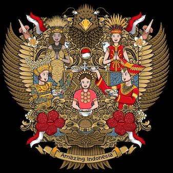 ガルーダ手描きイラストで素晴らしい文化を持つインドネシアの女性