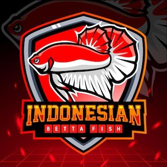 Indonesian flag betta fish mascot esport logo design
