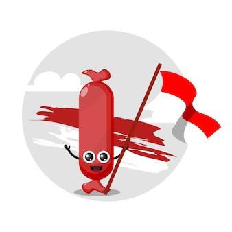 인도네시아 국기 소시지 귀여운 캐릭터 로고
