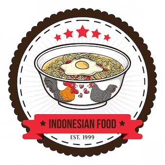 Indonesian food noodle badge design templates