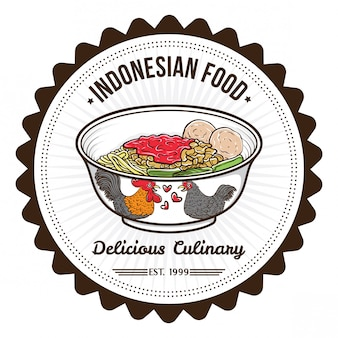 Indonesian food noodle and meat balls badge design templates
