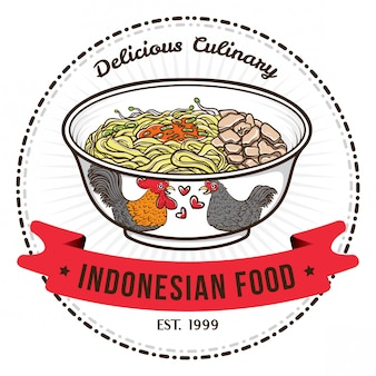 Indonesian food noodle with chinese bowl badge design templates