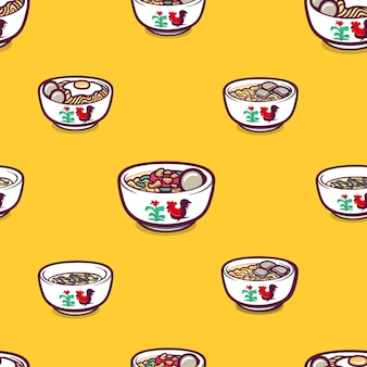 Indonesian foods in seamless pattern background