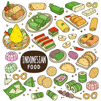 Indonesian foods and snack cartoon color illustration