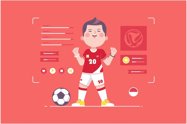 インドネシアのサッカー選手のかわいいキャラクターデザイン