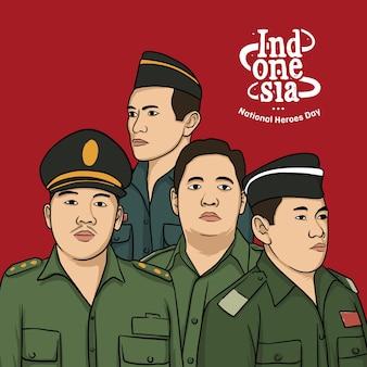 День индонезийских героев фон с портретной иллюстрацией героев революции