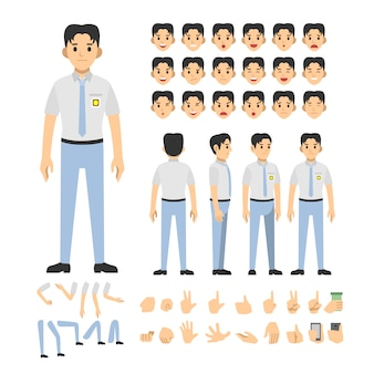 Indonesian high school boy character set