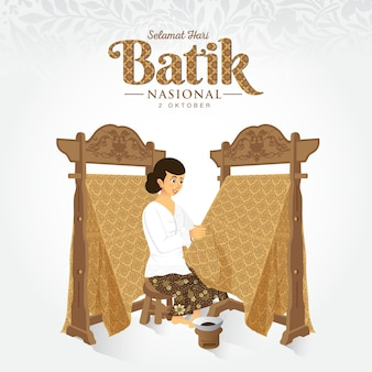 Indonesian holiday batik day illustration.translation: