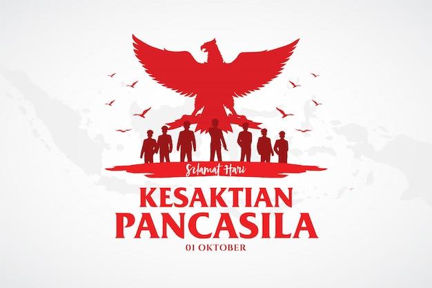 Индонезийский праздник панкасила, день иллюстрация. перевод: