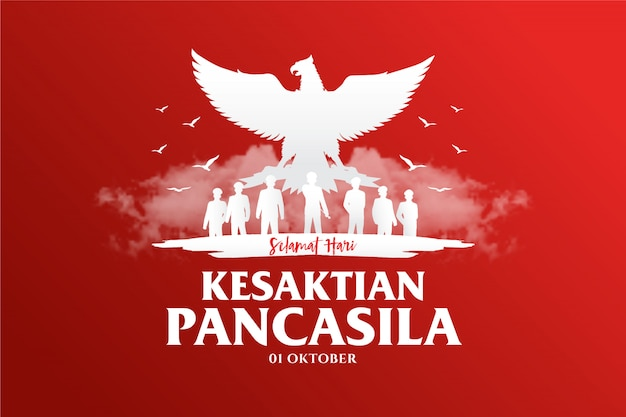Indonesian holiday pancasila day illustration.translation: