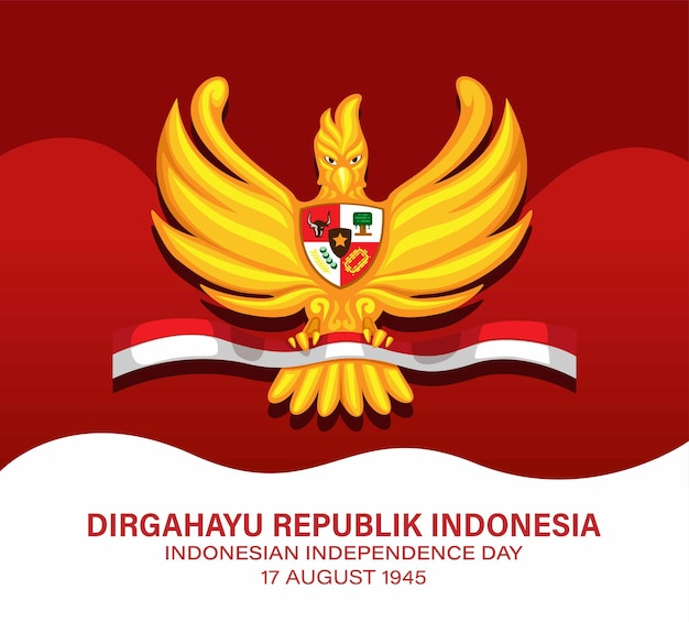 Indonesian independence day 17 august 1945 and pancasila day with garuda symbol concept vector