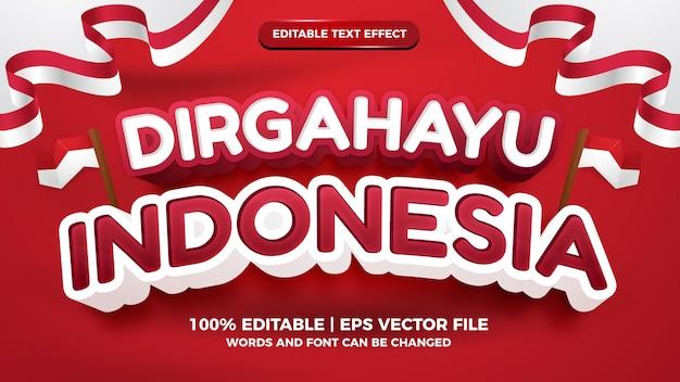 День независимости индонезии dirgahayu republik индонезия красный и белый флаг редактируемый текстовый эффект