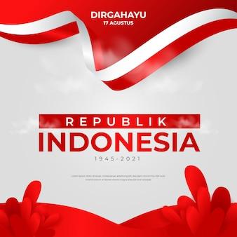Дизайн поздравительной открытки на день независимости индонезии с развевающимся флагом индонезии