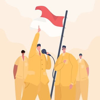 Indonesian independence day people speech illustration