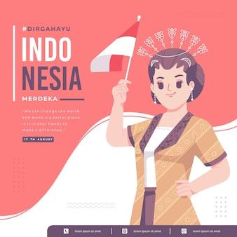 伝統的な女の子のキャラクター イラスト背景を持つインドネシアの独立記念日