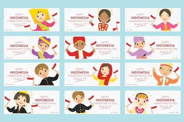 Indonesian kids, indonesia independence day banner set