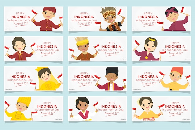 Indonesian kids in traditional dress. indonesia independence day banner set