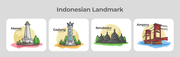 Indonesian landmark collection