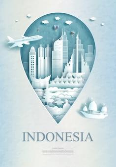 Индонезийская достопримечательность иллюстрация